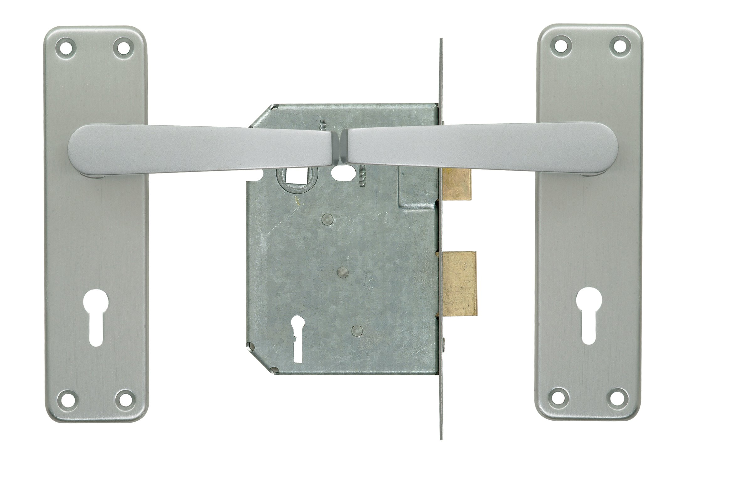2 Lever Lockset - Silver with Galvinised Lock