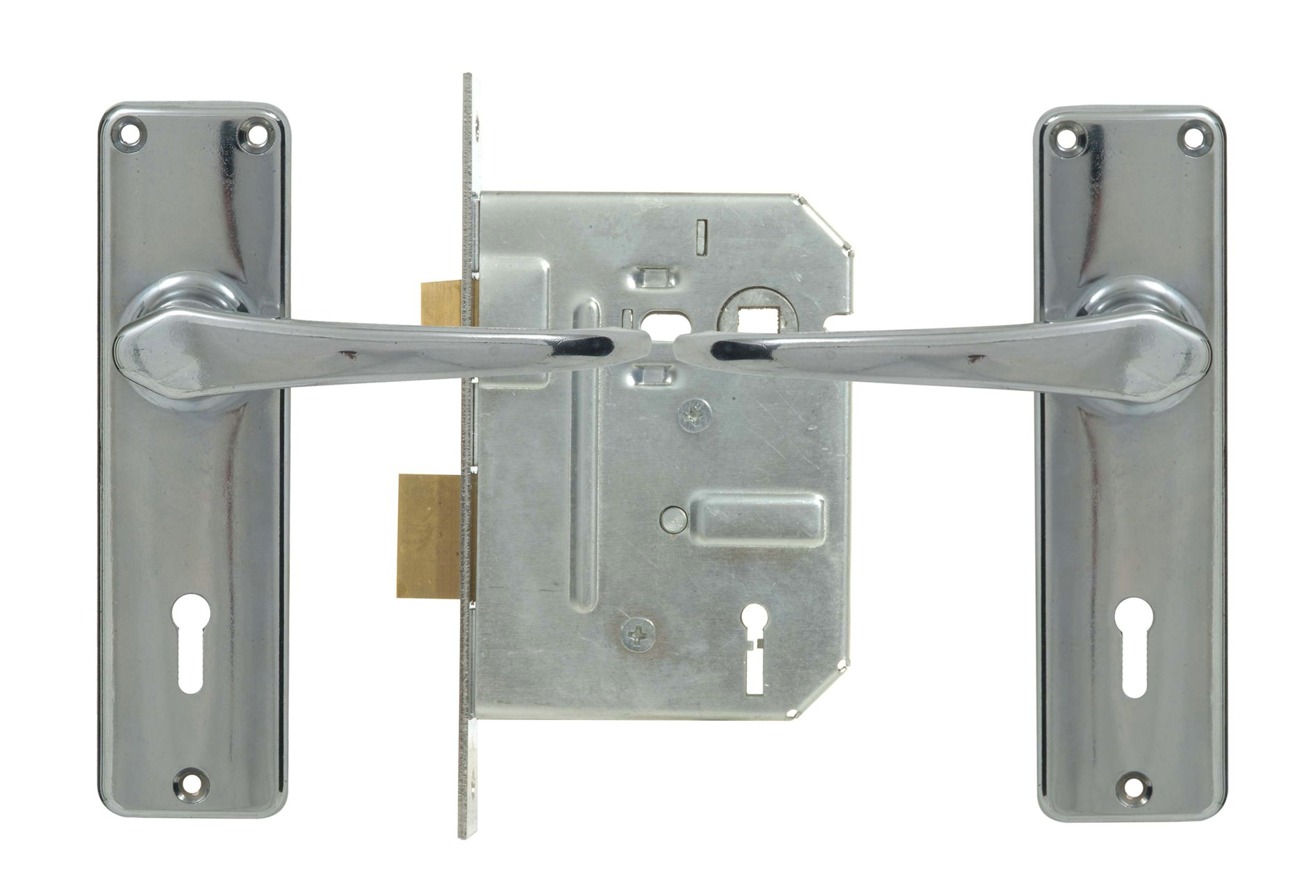2 Lever Econo Lockset - Chrome with Galvinised Lock