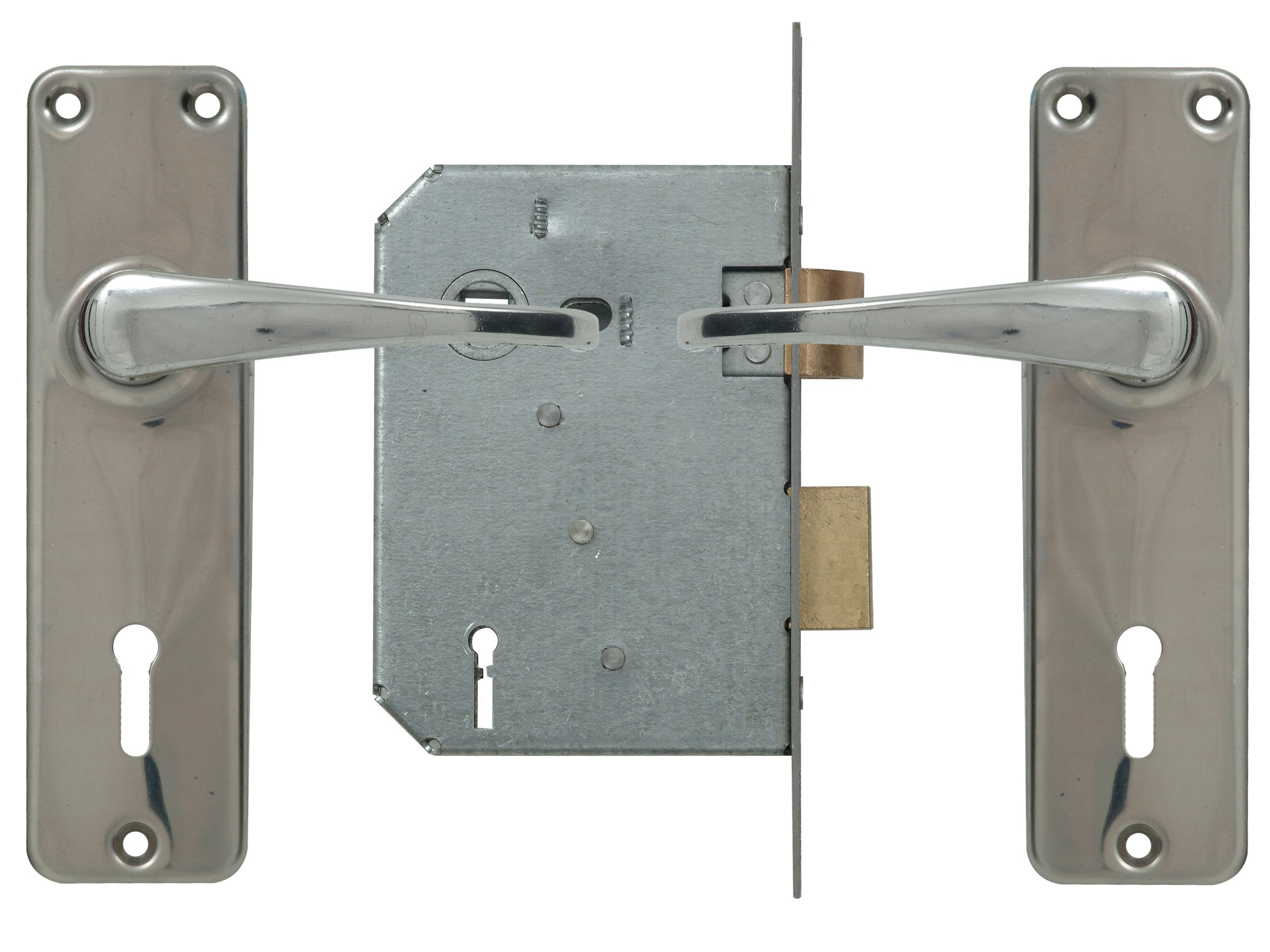 2 Lever Lockset - Chrome with Galvinised Lock
