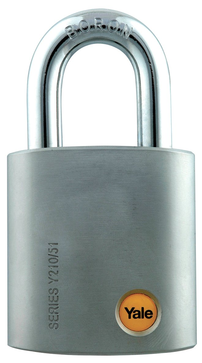 Y210/51/127 - Yale Silver Series Outdoor Satin Steel Padlock (Boron Shackle) 51mm