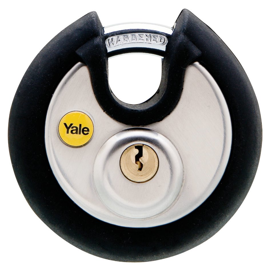 Y130/70/116 - Yale Silver Series Marine Grade Stainless Steel Disc Padlock (Soft Rubber Bumper) with Multi-pack