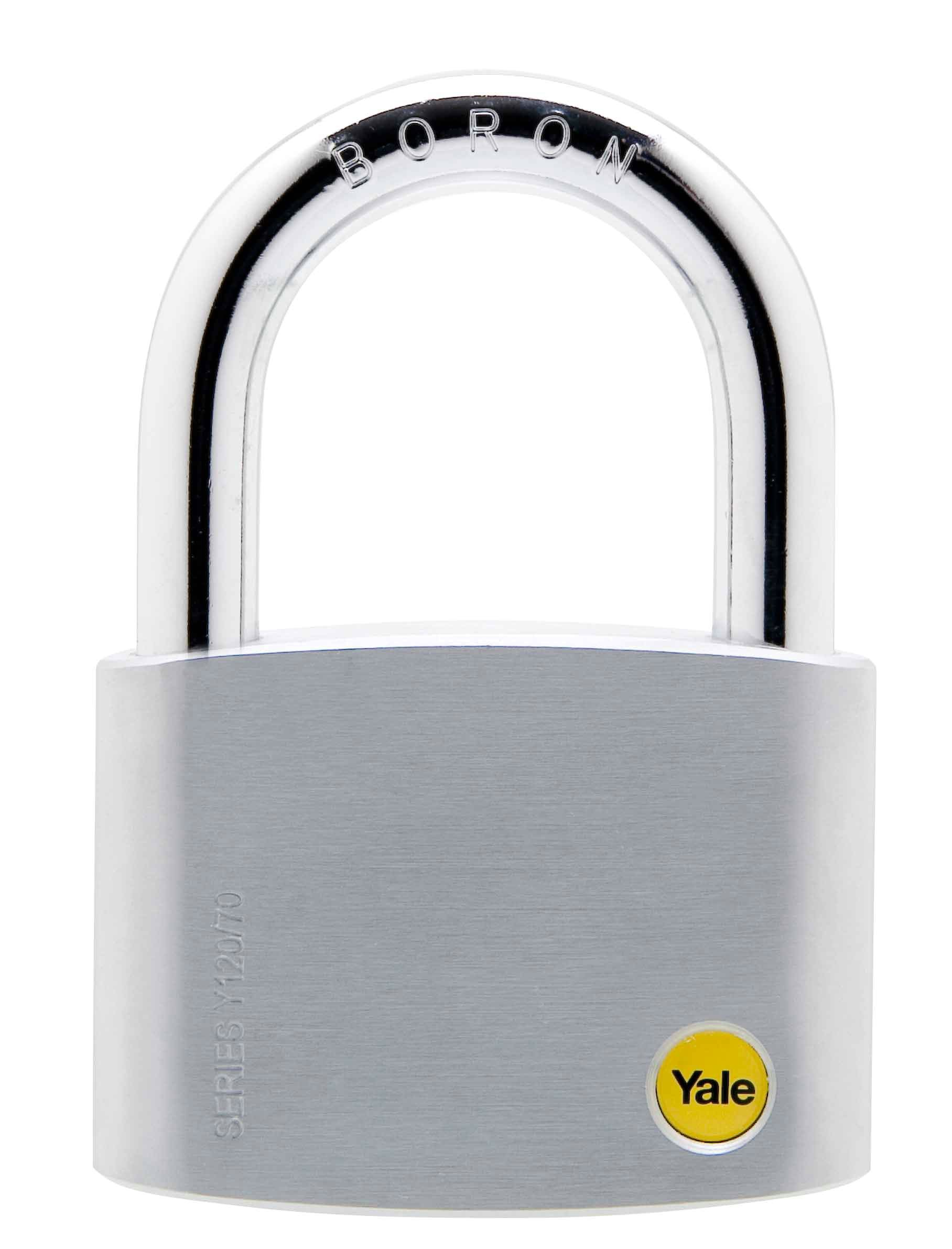 Y120/70/141 - Yale Silver Series Outdoor Brass / Satin Padlock (Boron Shackle) 70mm
