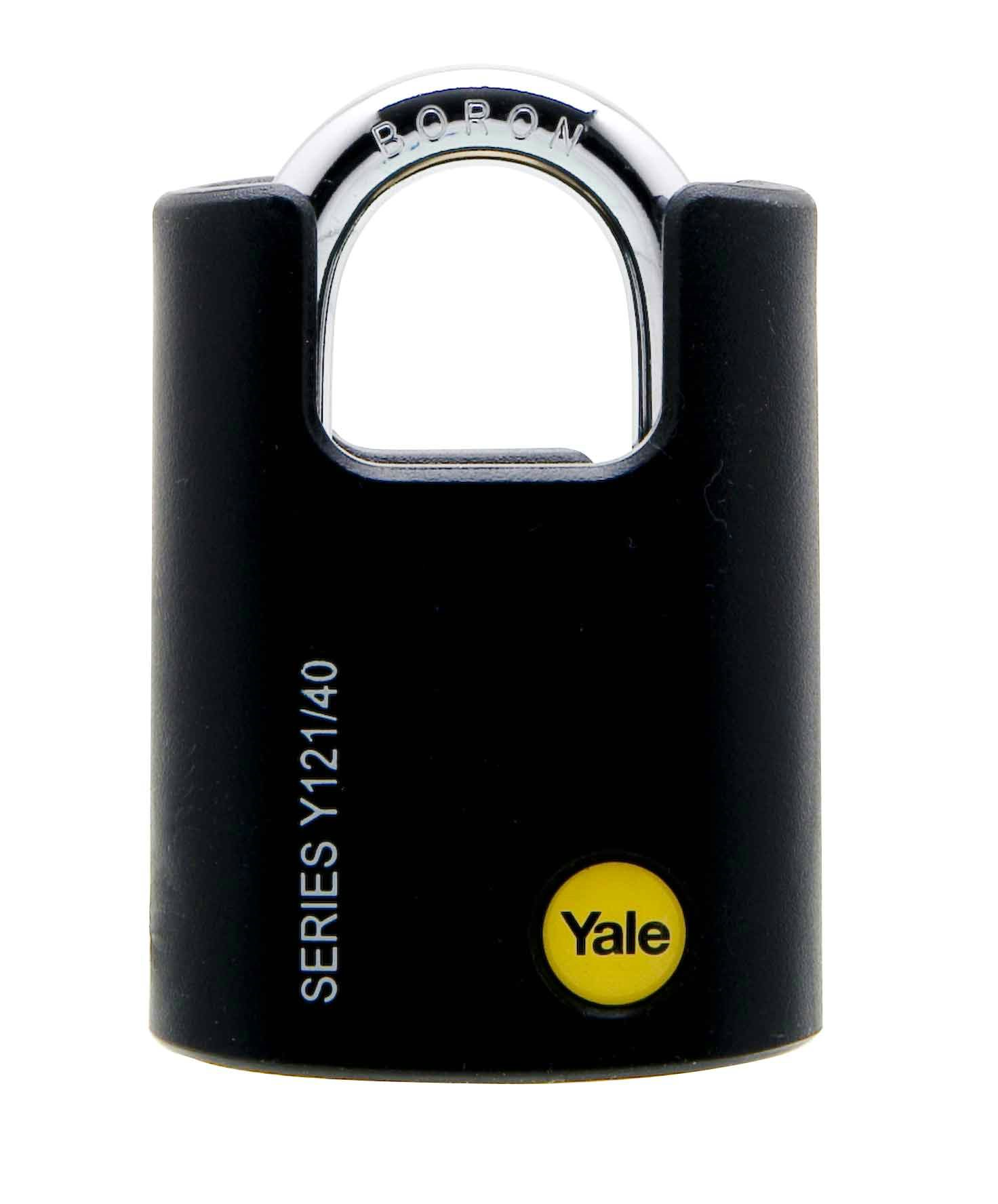 Y121/40/125 - Yale Classic Series Outdoor Black Plastic Covered Brass Padlock (Boron Shackle) 40mm