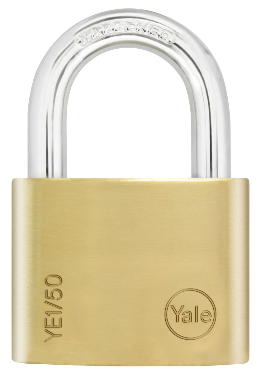 YE1/50 - Yale Essential Series Indoor Brass Standard/Long Shackle Padlock 50mm